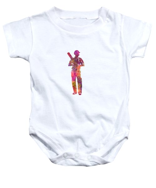 Cricket Player Batsman Silhouette 10 Baby Onesie by Pablo Romero