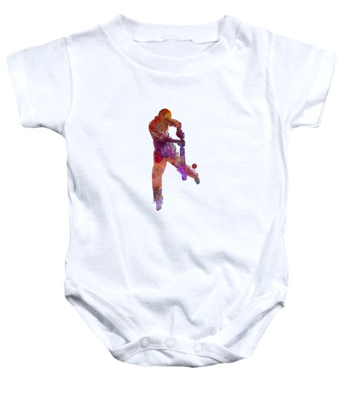 Cricket Player Batsman Silhoutte Baby Onesie by Pablo Romero