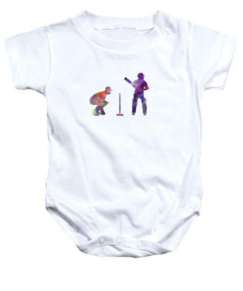 Cricket Player Silhouette Baby Onesie