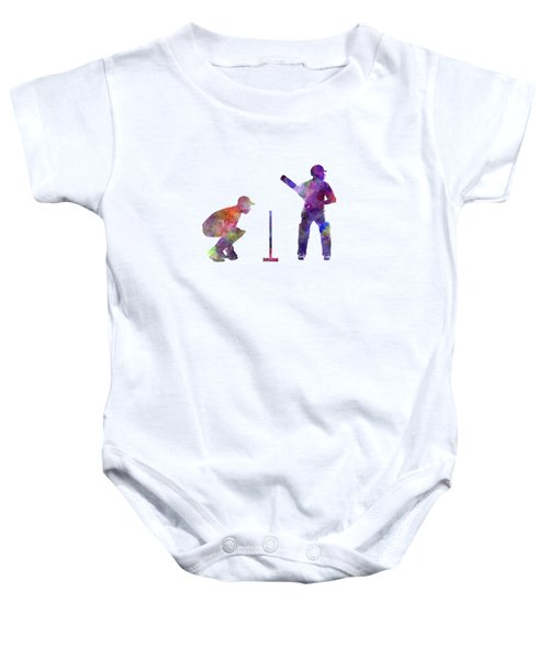 Cricket Player Silhouette Baby Onesie