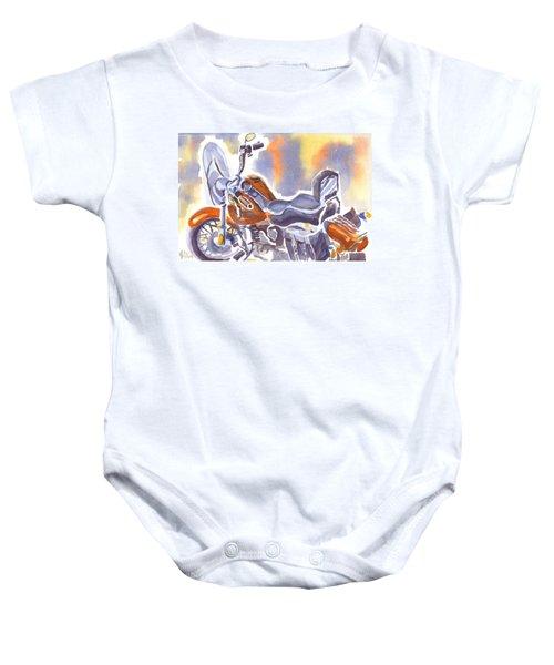 Crimson Motorcycle In Watercolor Baby Onesie