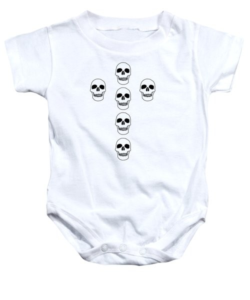 08cad710f Cross In Skulls Clothing And Decor Baby Onesie