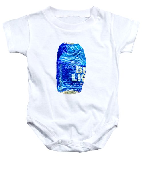 Crushed Blue Beer Can On Plywood 78 Color On Bw Baby Onesie
