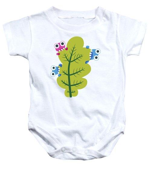 Cute Bugs Eat Green Leaf Baby Onesie