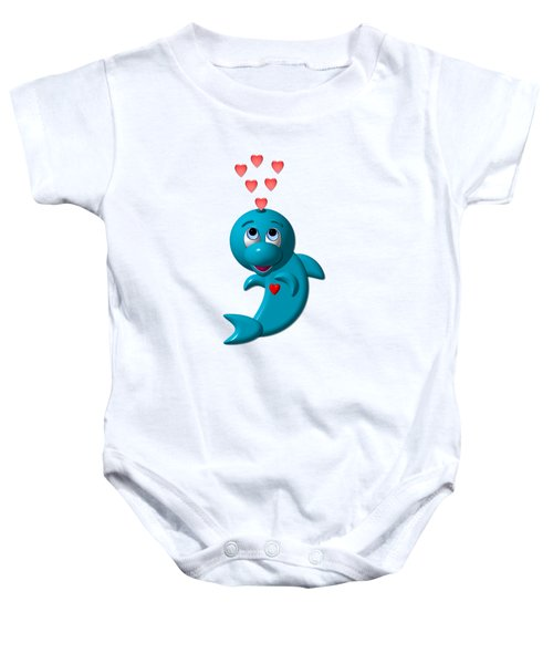 Cute Dolphin With Hearts Baby Onesie