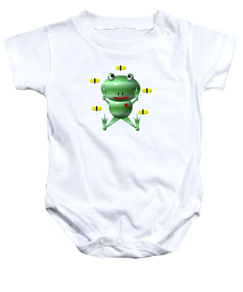 Cute Frog With Flies Baby Onesie