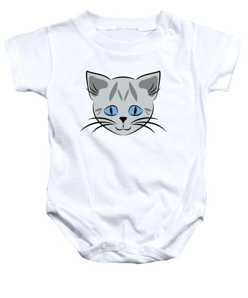 Cute Gray Tabby Cat Face Baby Onesie