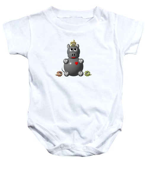 Cute Hippo With Hamsters Baby Onesie by Rose Santuci-Sofranko