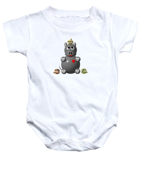 Cute Hippo With Hamsters Baby Onesie