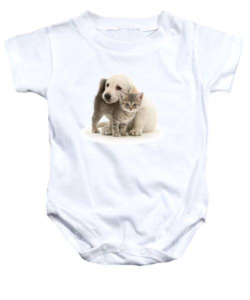 Cute Kitten And Perfect Puppy Baby Onesie