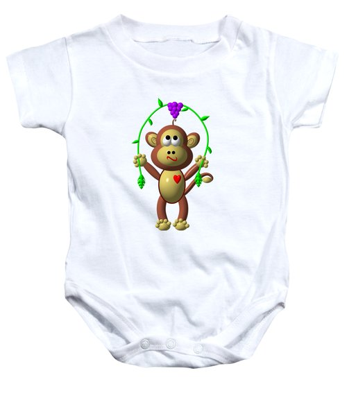 Cute Monkey Jumping Rope Baby Onesie by Rose Santuci-Sofranko