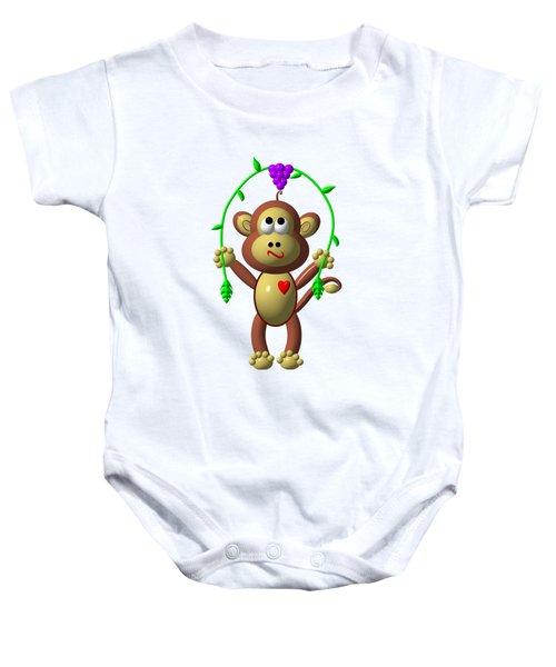 Cute Monkey Jumping Rope Baby Onesie