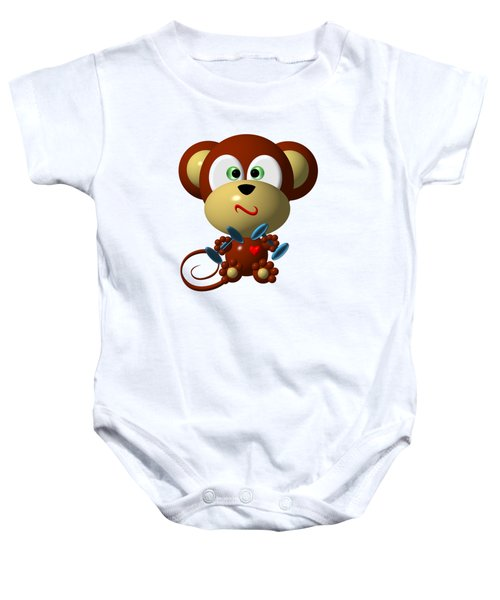 Cute Monkey Lifting Weights Baby Onesie by Rose Santuci-Sofranko