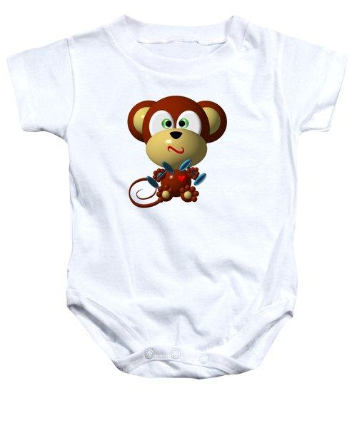 Cute Monkey Lifting Weights Baby Onesie