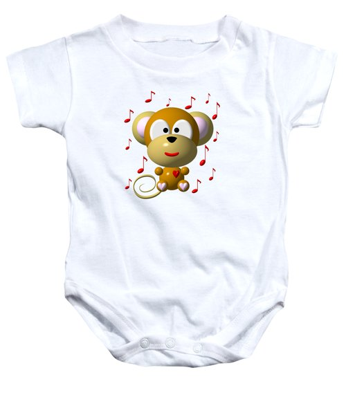Cute Musical Monkey Baby Onesie by Rose Santuci-Sofranko