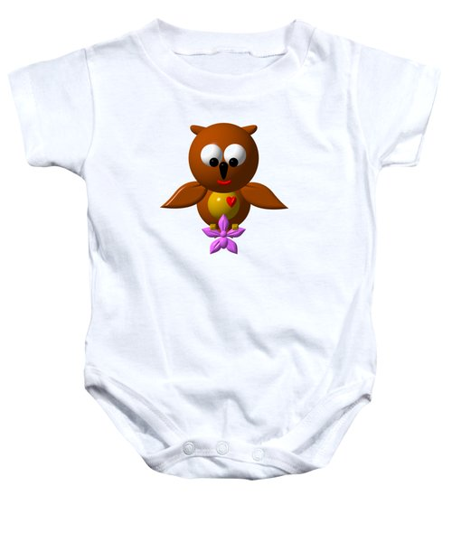 Cute Owl With Orchid Baby Onesie