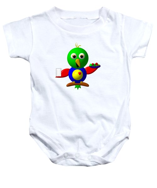 Cute Parrot With Healthy Salad And Milk Baby Onesie by Rose Santuci-Sofranko