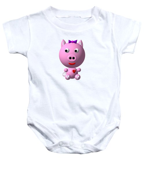 Cute Pink Pig With Purple Bow Baby Onesie