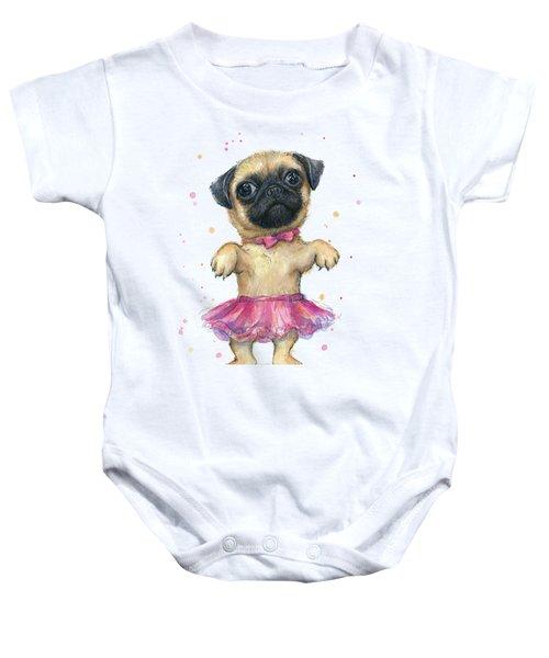 Cute Pug Puppy Baby Onesie by Olga Shvartsur