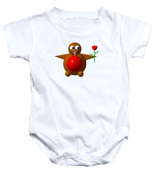 Cute Robin With Rose Baby Onesie
