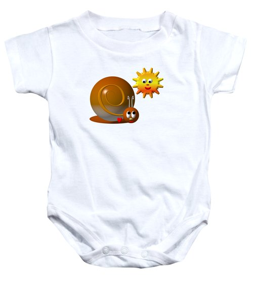 Cute Snail With Smiling Sun Baby Onesie
