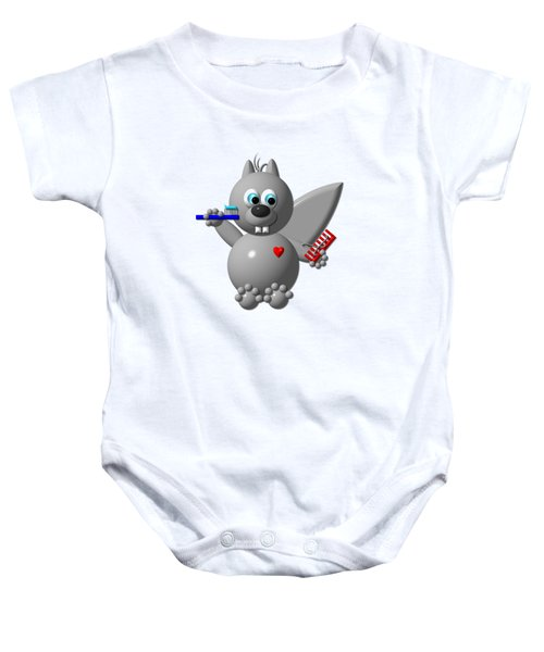 Cute Squirrel Brushing It's Hair And Teeth Baby Onesie
