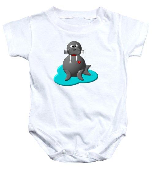 Cute Walrus In Water Baby Onesie