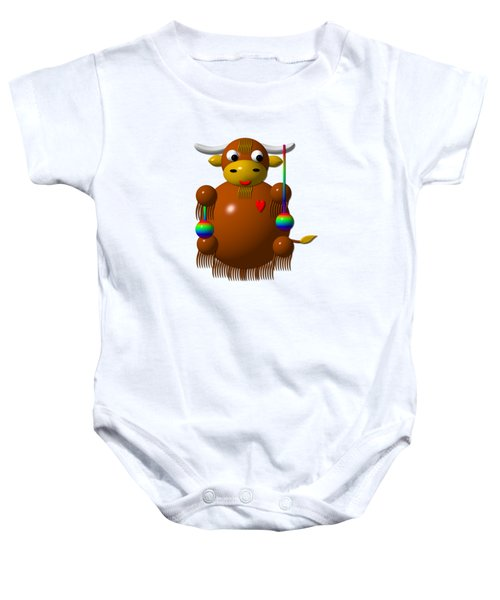 Cute Yak With Yo Yos Baby Onesie by Rose Santuci-Sofranko
