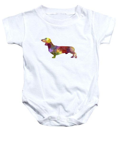Dachshund In Watercolor Baby Onesie by Pablo Romero
