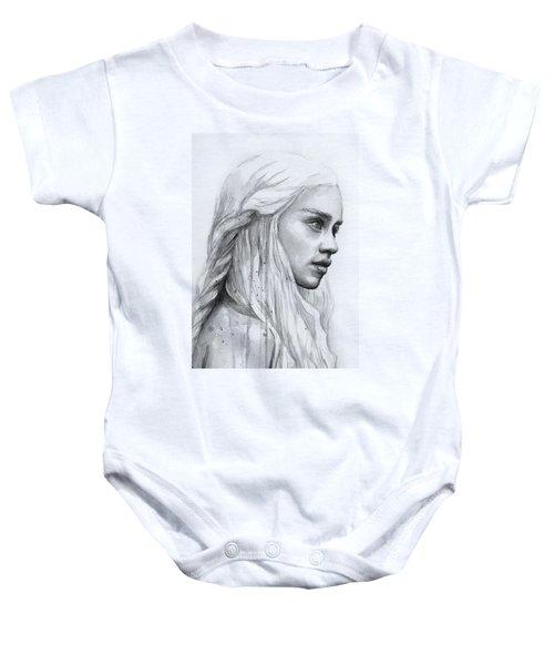 Daenerys Watercolor Portrait Baby Onesie by Olga Shvartsur