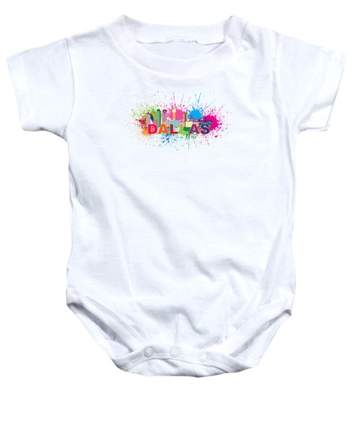 Dallas Skyline Paint Splatter Text Illustration Baby Onesie by Jit Lim