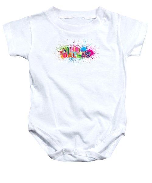 Dallas Skyline Paint Splatter Text Illustration Baby Onesie