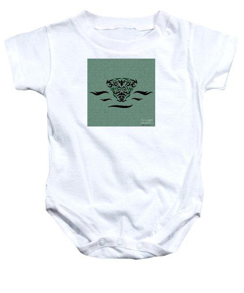 Deep Green Tribal Gator Baby Onesie
