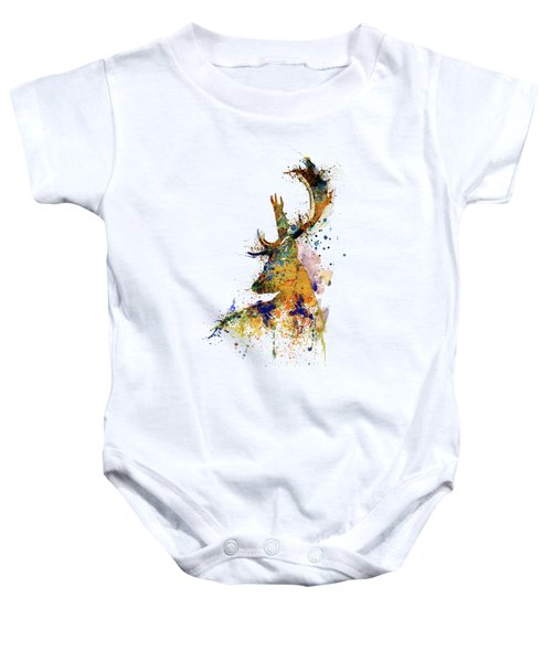 Deer Head Watercolor Silhouette Baby Onesie