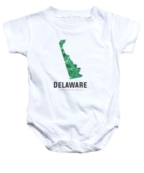 Delaware Map Art Abstract In Green Baby Onesie