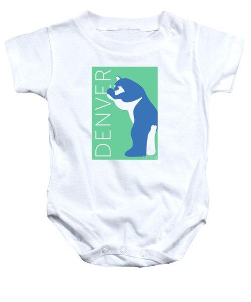 Denver Blue Bear/aqua Baby Onesie