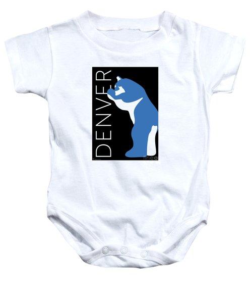 Denver Blue Bear/black Baby Onesie