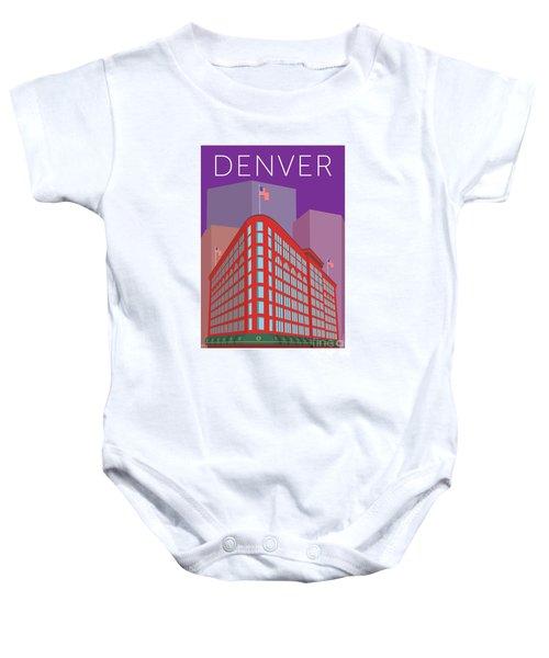 Denver Brown Palace/purple Baby Onesie