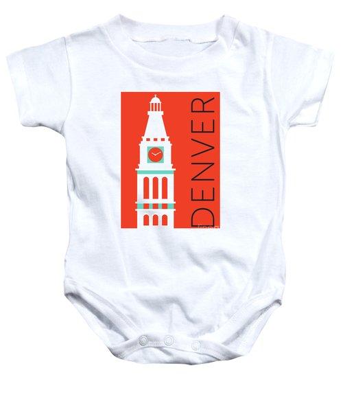 Denver D And F Tower/orange Baby Onesie