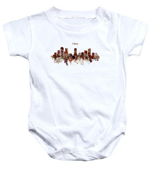 Denver Skyline Silhouette Baby Onesie by Marian Voicu