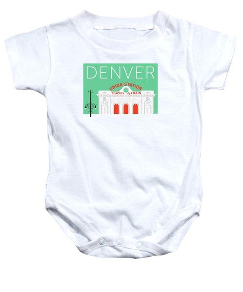 Denver Union Station/aqua Baby Onesie