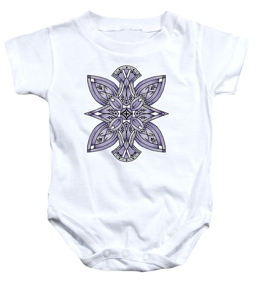 Geometric Zentangle In Lavender, White And Black Baby Onesie