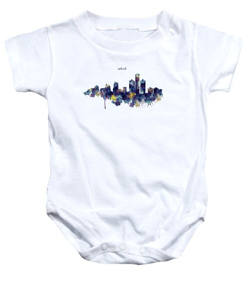 Detroit Skyline Silhouette Baby Onesie by Marian Voicu