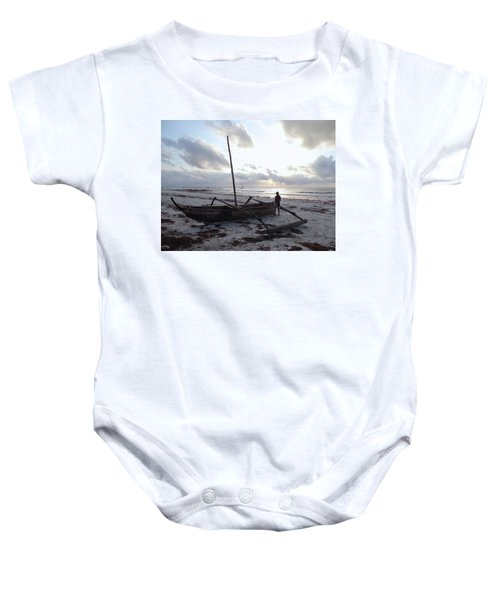 Dhow Wooden Boats At Sunrise With Fisherman Baby Onesie