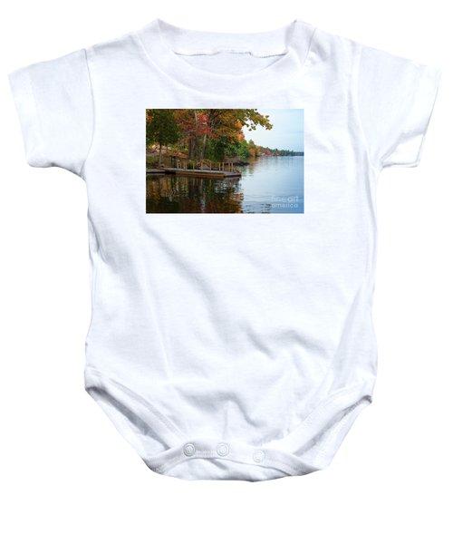 Dock On Lake In Fall Baby Onesie