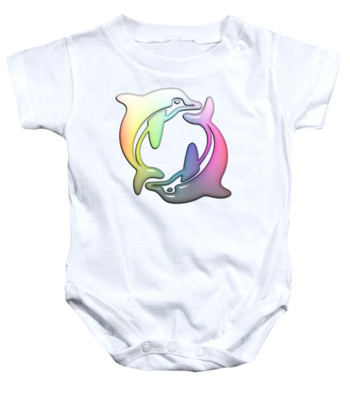 Dolphin Dance Soft Rainbow Drops Baby Onesie by Di Designs