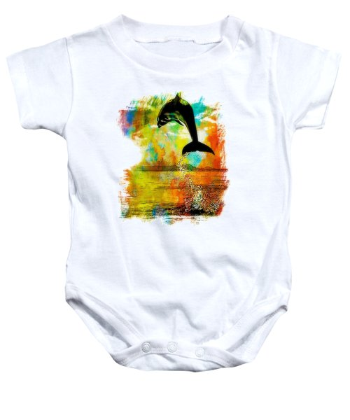 Dolphin Sunset Baby Onesie by Kevin Moore