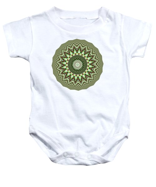 Dome Of Chains Mandala By Kaye Menner Baby Onesie by Kaye Menner