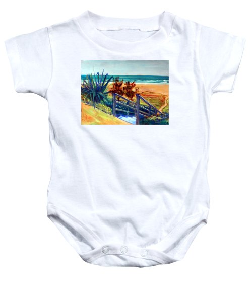 Down The Stairs To The Beach Baby Onesie by Winsome Gunning