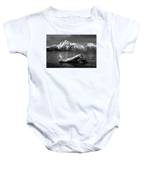 driftwood and Mt. Moran Baby Onesie